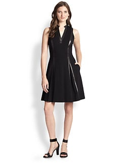Rebecca Taylor - Leather-Trimmed Stretch Jersey Dress