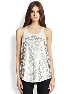 Rebecca Taylor - Leo Silk Sequined Leopard-Patterned Top
