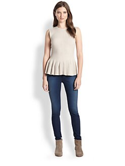 Rebecca Taylor - Ribbed Knit Peplum Top