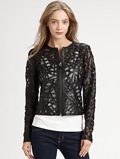 Royal Underground - Twisted Cutout Leather Jacket