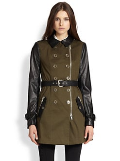 Rachel Zoe - Leather & Twill Trench Coat