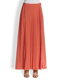 Tibi - Silk Pleated Maxi Skirt