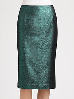 Tibi - Lurex Jacquard Pencil Skirt