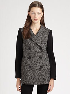 Tibi - Bonded Tweed Peacoat