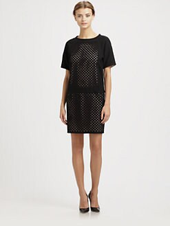 Tibi - Laser-Cut Wool Dress