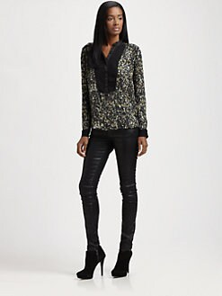 Rebecca Taylor - Sequin -Print Henley Top