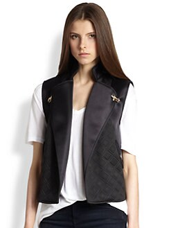 Rebecca Minkoff - Quilted-Panel Satin Vest