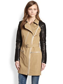 Rebecca Minkoff - Leather-Sleeved Cotton Trenchcoat
