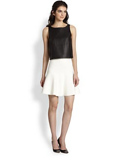 Tibi - Crepe-Back Leather Top