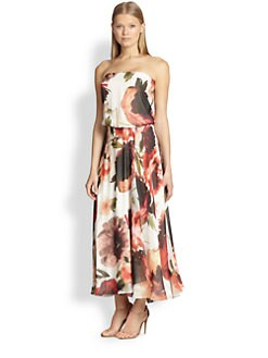 Haute Hippie - Silk Chiffon Printed Strapless Maxi Dress