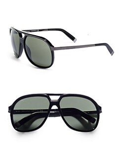 DSQUARED - Aviator Plastic & Metal Sunglasses/Black Green