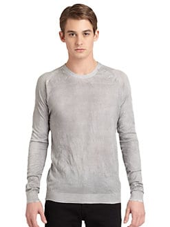 Costume National - Distressed Crewneck Sweater/Slim-Fit