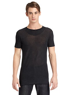 Costume National - Semi-Sheer Knit Shirt/Slim-Fit