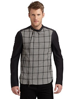 Costume National - Textured Plaid Jacket/Slim-Fit