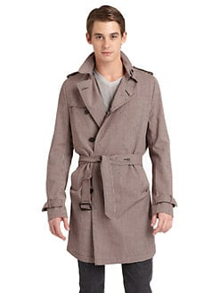 Costume National - Mini-Check Wool Trench Jacket/Slim-Fit