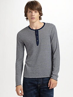 Elizabeth and James - Striped Wool/Cashmere Henley Sweater