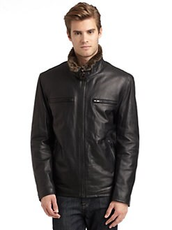 Andrew Marc - Rabbit Fur Lined Leather Jacket