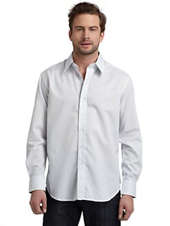 Robert Graham - Woven Cotton Windowpane Button-Down Shirt