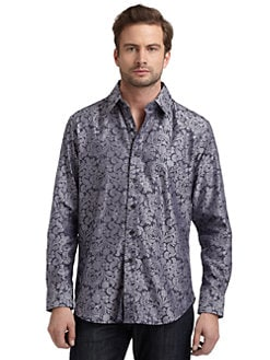 Robert Graham - Woven Cotton Jacquard Button-Down Shirt/Grey
