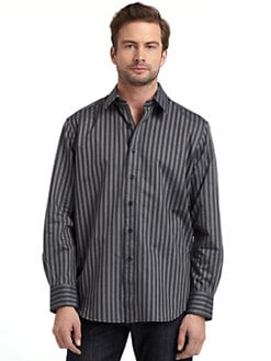 Robert Graham - Woven Cotton Stripe Button-Down Shirt/Grey & Beige