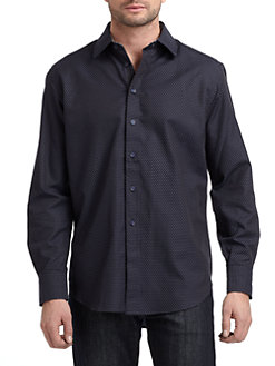 Robert Graham - Woven Cotton Pindot Button-Down Shirt