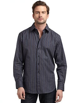 Robert Graham - Woven Cotton Stripe Button-Down Shirt/Navy & Indigo