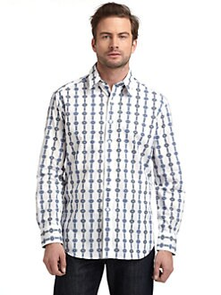 Robert Graham - Woven Cotton Medallion Button-Down Shirt