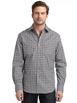 Robert Graham - Woven Cotton Geometric Check Button-Down Shirt