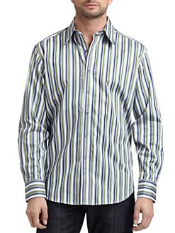 Robert Graham - Woven Cotton Striped Button-Down Shirt/Blue & Green