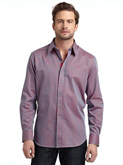 Robert Graham - Woven Cotton Striped Button-Down Shirt/Red & Teal