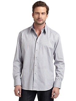 Robert Graham - Woven Cotton Houndstooth Stripe Button-Down Shirt