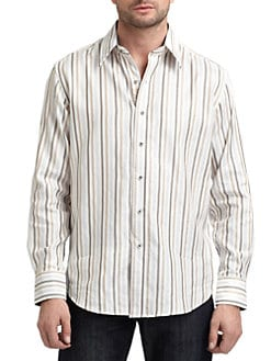 Robert Graham - Cotton Woven Striped Button-Down Shirt/Brown & Beige