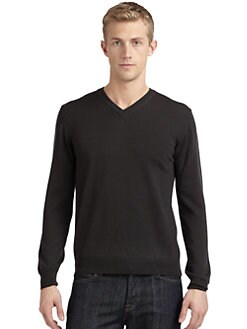 Calvin Klein Collection - Merino Wool V-neck Sweater/Slim-Fit