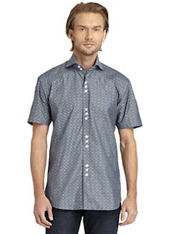 Bogosse - Short-Sleeve Novelty Button-Down Shirt