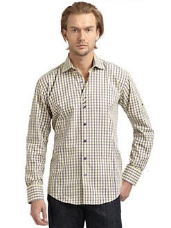 Bogosse - Gingham Check Button-Down Shirt/Purple & Yellow