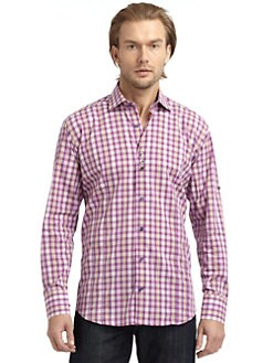 Bogosse - Gingham Check Button-Down Shirt/Purple & Pink