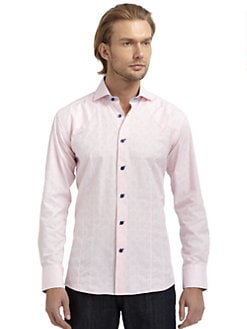 Bogosse - Jacquard Button-Down Shirt/Pink