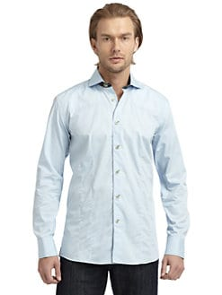 Bogosse - Seed-Stitched Button-Down Shirt/Baby Blue