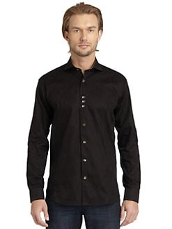 Bogosse - Jacquard Paisley Button-Down Shirt/Black