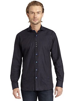 Bogosse - Jacquard Paisley Button-Down Shirt/Navy