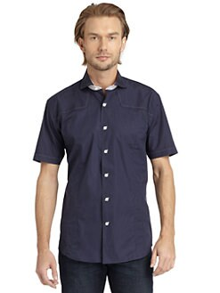 Bogosse - Seed-Stitched Short-Sleeve Button-Down/Navy