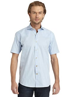 Bogosse - Seed-Stitched Short-Sleeve Button-Down/Baby Blue