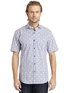 Bogosse - Gingham Short-Sleeve Button-Down Shirt