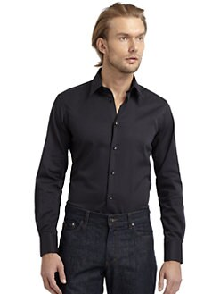 Versace Collection - Twill Button-Down Slim-Fit Shirt/Black