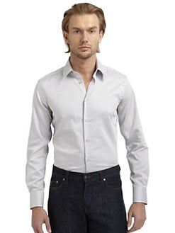Versace Collection - Twill Button-Down Slim-Fit Shirt/Light Grey