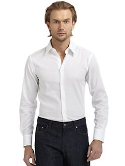 Versace Collection - Twill Button-Down Slim-Fit Shirt/White