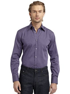 Versace Collection - Jacquard Stripe Button-Down Shirt/Slim-Fit