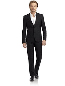 Versace Collection - Shadow-Plaid Jacquard Suit/Slim-Fit
