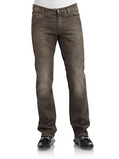 Versace Collection - Distressed Colorwashed Five-Pocket Jeans/Slim-Fit