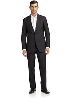 Armani Collezioni - Wool Bird's-Eye Two-Button Suit/Slim-Fit